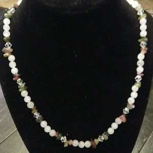 Jewelry - Rose Quartz and Flourite Chip Beaded Necklace